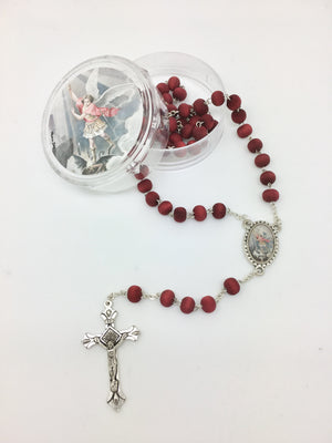 St. Michael the Archangel Wood Rose Scented Rosary in Matching Box - Unique Catholic Gifts