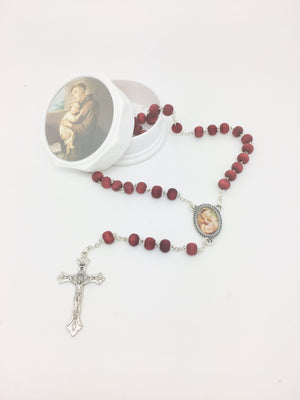 St. Anthony Wood Rose Scented Rosary in Matching Box