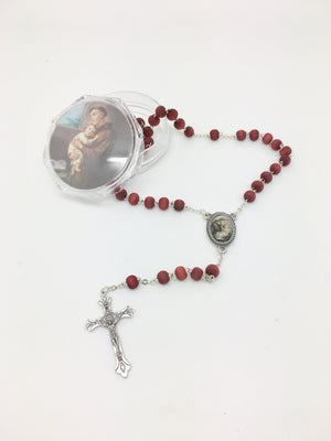 St. Anthony Wood Rose Scented Rosary in Matching Clear Box