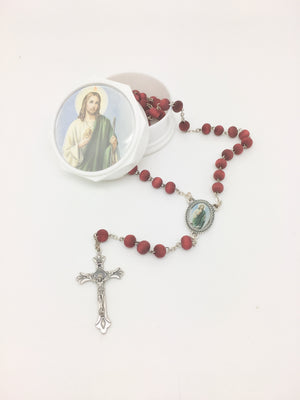 St. Jude Wood Rose Scented Rosary in Matching Box - Unique Catholic Gifts