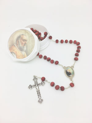 Padre Pio Wood Rose Scented Rosary in Matching Box - Unique Catholic Gifts