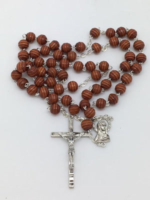 Brown  Wood Cut Rosary (8mm) - Unique Catholic Gifts