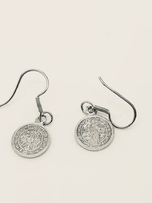 St. Benedict Medal Sterling Silver Earrings (Handcrafted ) - Unique Catholic Gifts