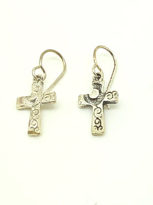 Eucharistic Heart Cross Sterling Silver Earrings (Handcrafted ) - Unique Catholic Gifts