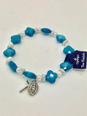 Blue Cross and Miraculous Medal Rosary Bracelet
