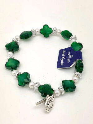Green Cross and Miraculous Medal Rosary Bracelet