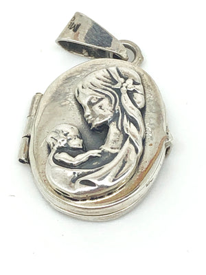 Madonna and Child Sterling Silver Handcrafted  Locket - Unique Catholic Gifts