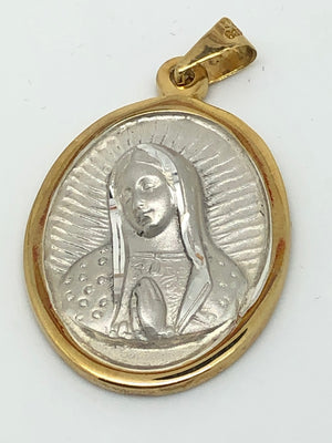Our Lady of Guadalupe Sterling Silver and Gold  Large Oval Pendant Medal (1 1/2