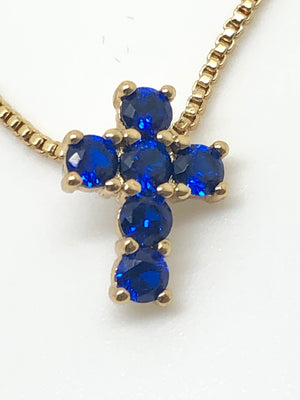 Blue Sapphire Cross Necklace - Unique Catholic Gifts