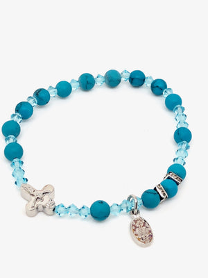 Genuine Turquoise Rosary Bracelet (6 mm) - Unique Catholic Gifts