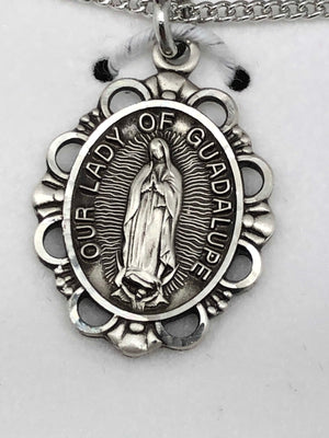 Sterling Silver Our Lady of Guadalupe Medal (1/2