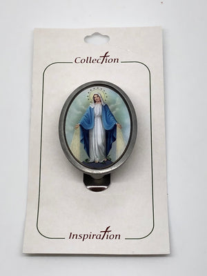 Our Lady of Grace Round Auto Visor Clip - Unique Catholic Gifts