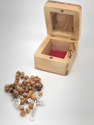 Olive Wood Rosary and Box with Relic