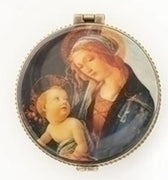 Porcelain Round Madonna and Child Rosary Box  2 1/3""