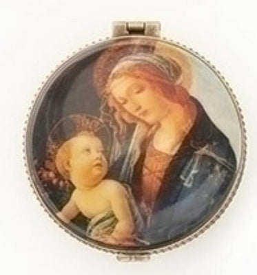 Porcelain Round Madonna and Child Rosary Box  2 1/3