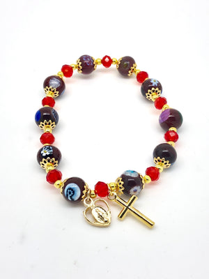 Burgundy and Blue Murano Glass  Rosary Bracelet (8MM) - Unique Catholic Gifts