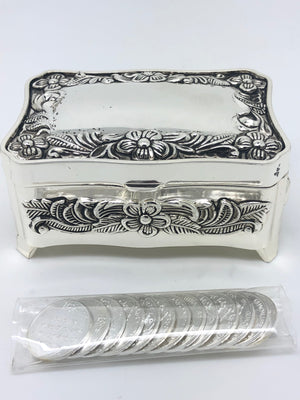 Vintage Silver Treasure Box With (13 Piece) Arras Coin Set - Unique Catholic Gifts