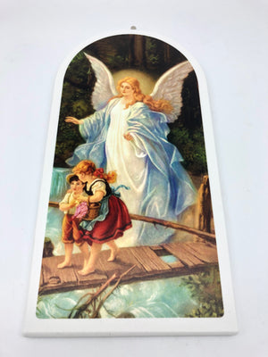Guardian Angel Wood Wall Plaque (9 1/4
