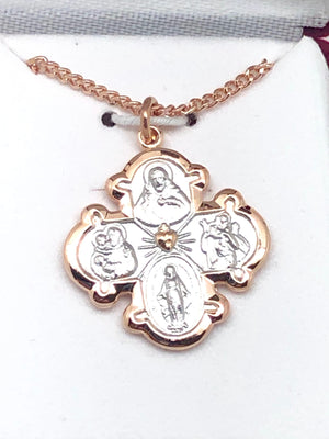 Two Tone Rose Gold and Sterling Silver 4-way medal (3/4