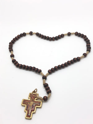 Brown Wood San Damiano Rosary from the Holy Land (6 mm)