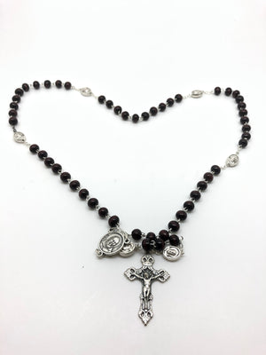 St. Benedict Brown Wood Rosary  (7 mm)