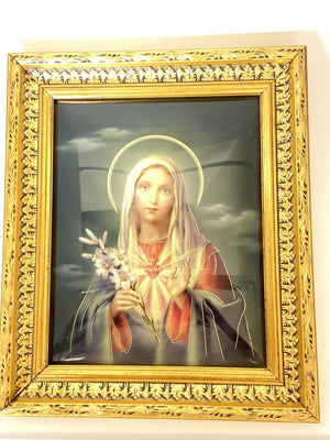 Immaculate Heart of Mary Wood Picture (Italian Design) (10 1/2 x 12 1/2