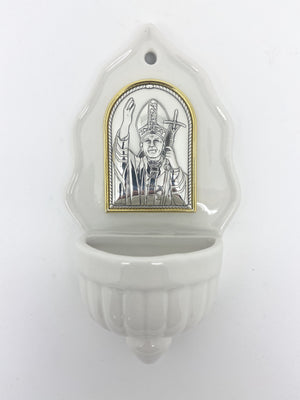 St. Pope John Paul II Holy Water Font with Silver Plated Plaque (6