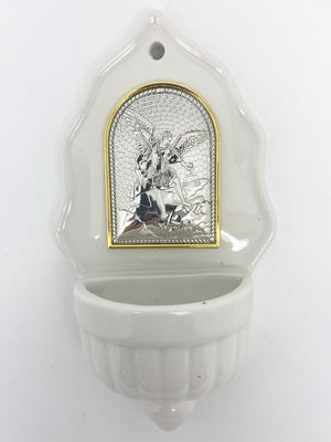 St. Michael Holy Water Font with Silver Plated Plaque (6