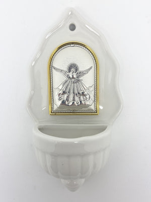 Holy Spirit Holy Water Font with Silver Plated Plaque (6