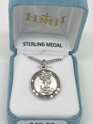 Saint Michael Sterling Silver Round Medal (1