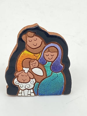 Small Terracotta Standing Plaque Nativity  (1 1/2