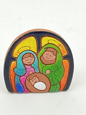 Small Terracotta Nativity Standing Plaque (1 1/2