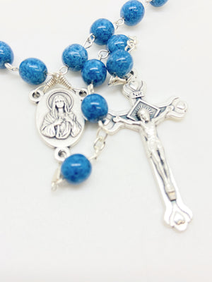 Blue Rosary from the Holy Land (7 mm)