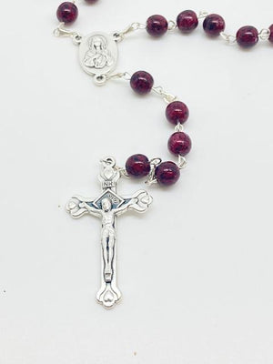 Burgundy Rosary from the Holy Land (7 mm)