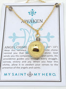 "Gold Angel Chime Necklace (30-33"")"