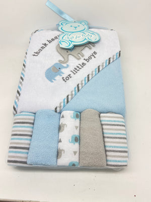 Blue Terry Bath Hooded Towel and Washcloth 6 Piece Set. (Boys) - Unique Catholic Gifts