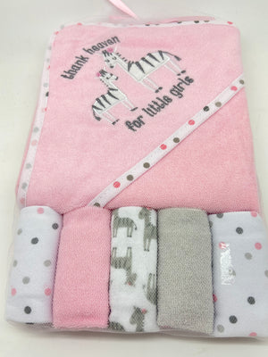 Pink Terry Bath Hooded Towel and Washcloth 6 Piece Set. (Girls) - Unique Catholic Gifts