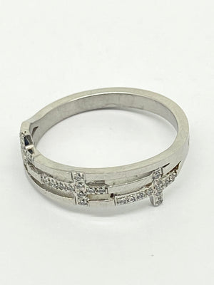 Cubic Zirconia Holy Trinity Cross Ring Woman of God