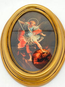 "St. Michael the Archangel Oval Gold Leaf Frame - 5.5"" x 7"" - Unique Catholic Gifts"