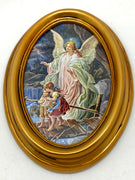 "Guardian Angel Oval Gold Leaf Frame - 5.5"" x 7"" - Unique Catholic Gifts"