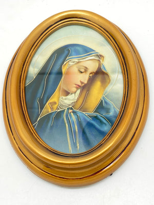 Our Lady of Sorrows Oval Gold Leaf Frame - 5.5