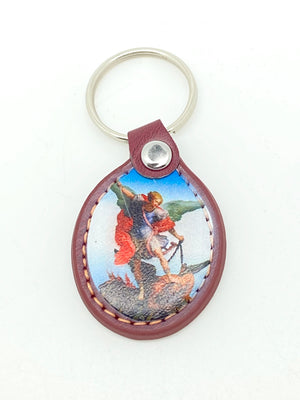 St. Michael Leather Keychain - Unique Catholic Gifts