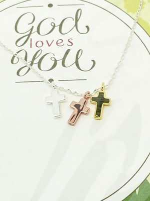 Walk by Faith Holy Trinity Cross Necklace Silver Chain - Unique Catholic Gifts