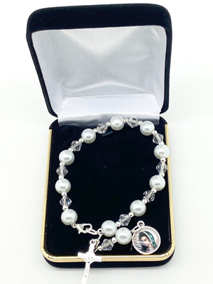White Pearl Our Lady  of Guadalupe Rosary Bracelet - Unique Catholic Gifts