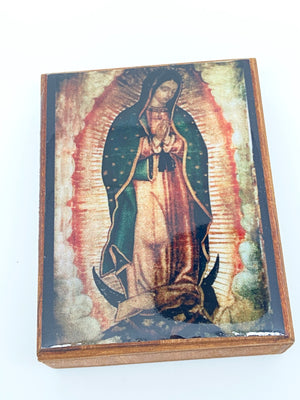 Our Lady Guadalupe Wood Rosary Box with Wood Rosary - Unique Catholic Gifts