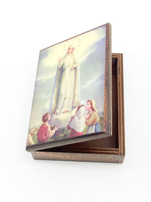 Our Lady of Fatima Wood Rosary Box with Wood Rosary - Unique Catholic Gifts