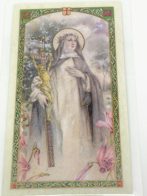 St. Catherine of Sienna Laminated Holy Card (Plastic Covered) - Unique Catholic Gifts