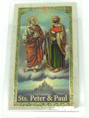 Novena to Sts. Peter & Paul Laminated Holy Card (Plastic Covered) - Unique Catholic Gifts