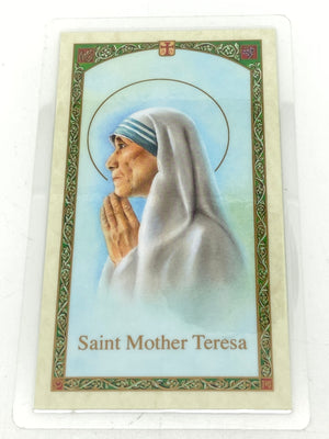 St. Mother Teresa Laminated Holy Card (Plastic Covered) - Unique Catholic Gifts