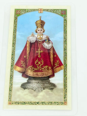 Infant of Prague Laminated Holy Card (Plastic Covered) - Unique Catholic Gifts